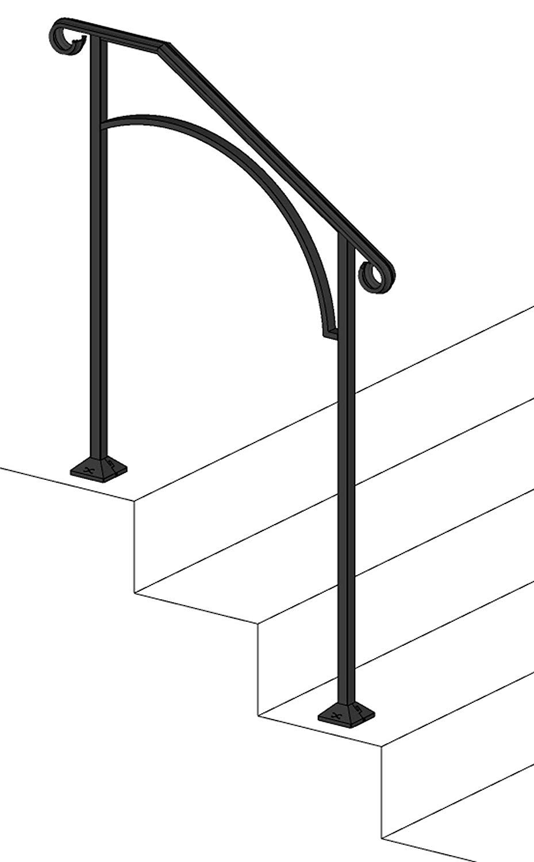 Iron X Handrail Arch #2 (Concrete Steps) by Iron X Handrail