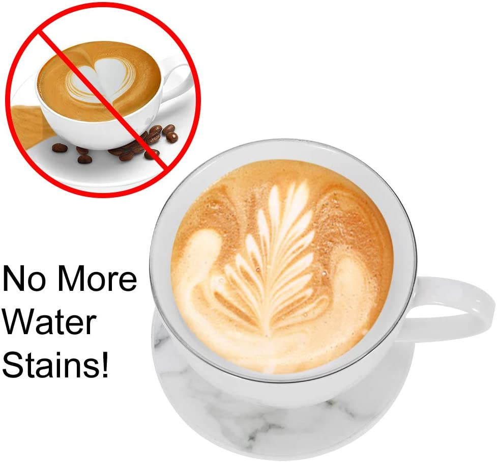 YJShop 6 Pack Leather Coasters Marble Design Round Cup Mats with Holder Heat Resistant Non Slip Mat Pads for Home Kitchen and Office Use