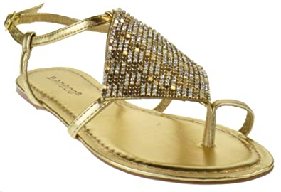 d9452127a BAMBOO Giggle 01 Gladiator Rhinestone Mesh Thong Flat Sandals Gold 6