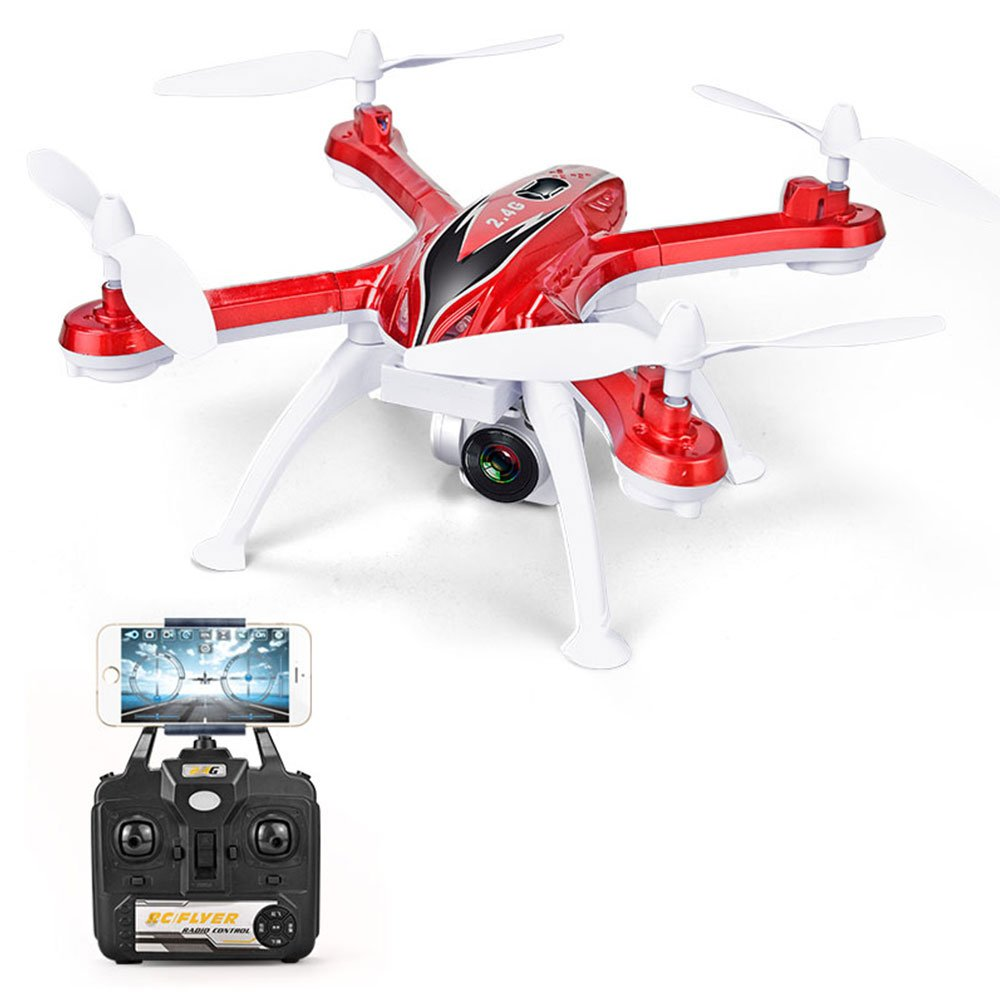 ZZH Drohnen mit 720P Kamera, Quadcopter UAV Lustige Vier-Achsen-FPV Höhe Halten Stabile Gimbal Drones für Kinder Erwachsene Beginner_ROT