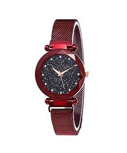Reloj Starry Sky a Prueba de Agua, Correa magnética con Hebilla, Reloj de Acero Inoxidable para Mujeres niñas (Red)