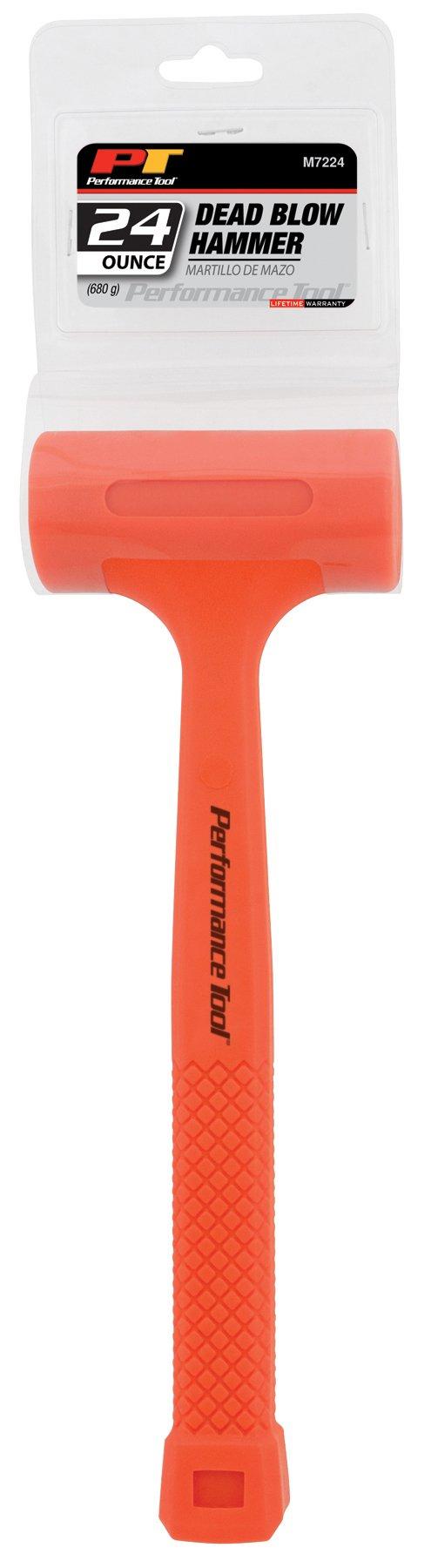 Performance Tool M7224 24-Ounce High-Visual Dead Blow Hammer - 24oz