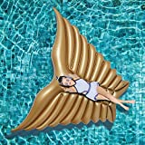 Jasonwell Giant Inflatable Angel's Wing Gold Pool Float with Rapid Valves Summer Beach Swimming Pool Party Lounge Raft Decorations Toys for Adults