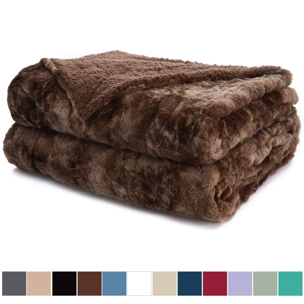 The Connecticut Home Company Luxury Faux Fur Bed Throw Blanket, King Size, 108x90, Super Soft, Large Wrinkle Resistant Reversible Blankets, Warm Hypoallergenic Washable Throws for Beds, Brown Tie Dye