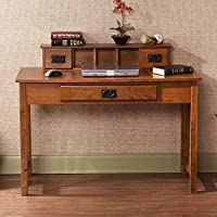 Southern Enterprises Francisco Writing Desk 45 Wide, Warm Mission Oak with Black Finish