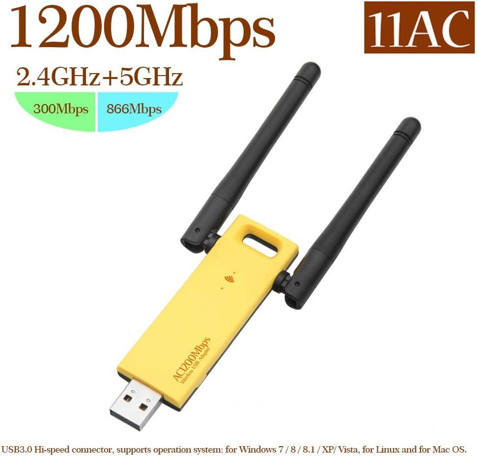 Aceyyk USB WiFi Adapter 1200Mbps 2.4Ghz//5Ghz WiFi USB Wireless Dual Band 2.4Ghz//300Mbps 5Ghz//867Mbps for Laptop Desktop with Windows XP//Vista//10//8//7 Mac OS