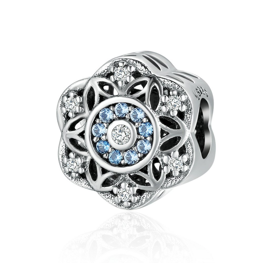 The Kiss Christmas Let it Snow Winter Holiday Snowflake 925 Sterling Silver Bead Fits European Charm Bracelet (Blue CZ 1)