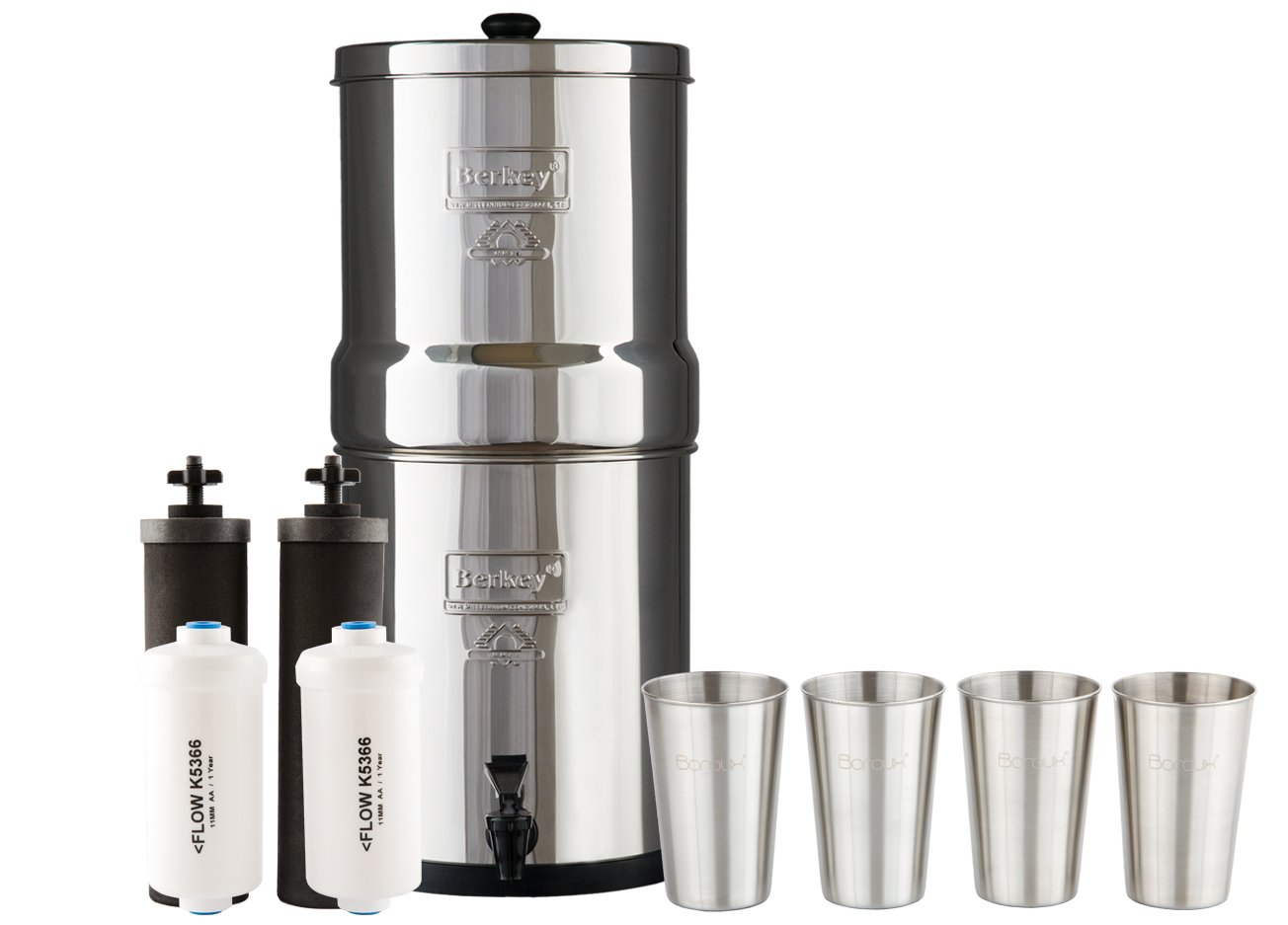 Big Berkey Water Filter System w/ 2 Black Purifier Filters (2 Gallons) Bundled w/ 1-set of Fluoride Filters (PF2) and 1-set of 4 Boroux 12 oz Stainless Steel Cups for drinking the best tasting water