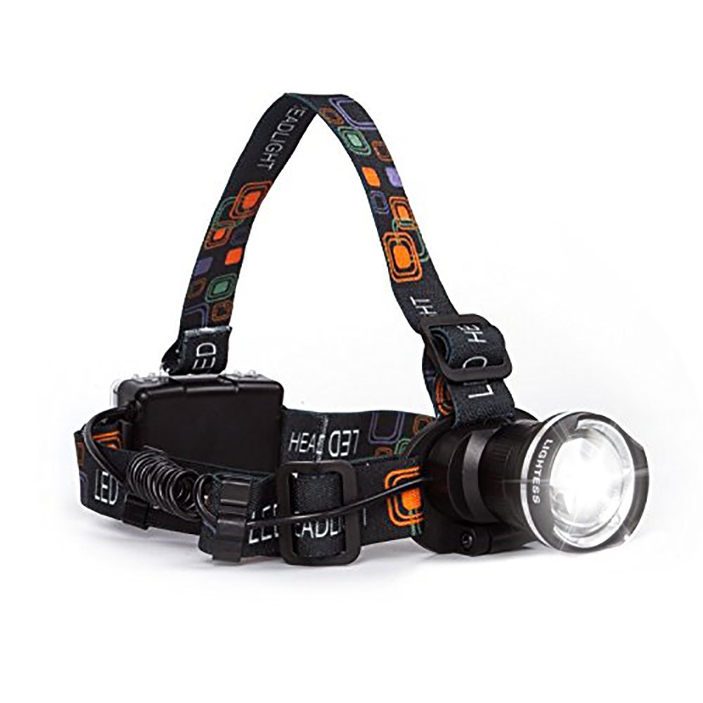Lightess Headlights Super Bright Zoomable Headlamp 1800lm XM-L T6 LED Head Torch Waterproof Adjustable Head Lamp for Climbing Hunting Fishing Cycling Riding Camping, Black, 3 Modes