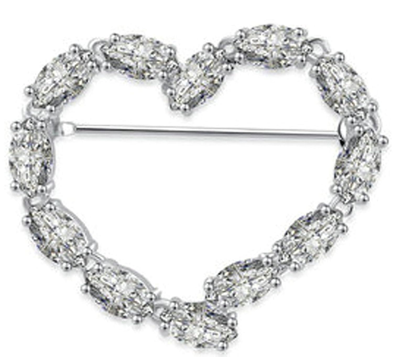 Beydodo Alloy White Gold Plated Women's Love Heart Cubic Zirconia Eternity Brooch