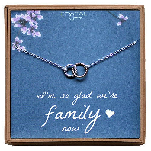 Mother, Sister, Daughter In Law Necklace, Sterling Silver Two Tone Interlocking Circles Jewelry Gift, Flower girl by Efy Tal Jewelry