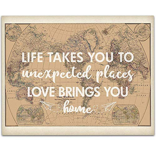 Life Takes You To Unexpected Places - 11x14 Unframed Art Print - Wedding/Gift Sign/Wood Sign/Reception Sign/Shower Gift/Travel Theme Under $15
