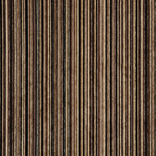 C253 Brown and Black Striped Chenille Upholstery Fabric by The Yard Brown Chenille Upholstery Fabric
