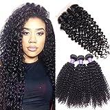 PoleStar Hair Brazilian Virgin Deep Wave Hair 3 Bundles with 1PC 44 Free Part Lace Closure 100% Unprocessed Human Hair Weave Extensions Natural Color (22 24 28+20 inch closure)