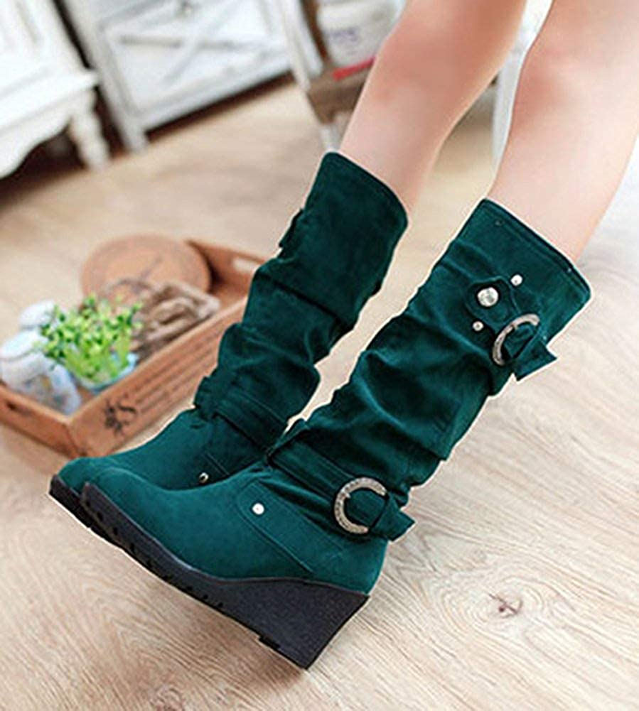 Womens Comfort Casual Studded Buckle Strap Pull On Round Toe Mid Heels Slouchy Mid Calf Wedge Boots
