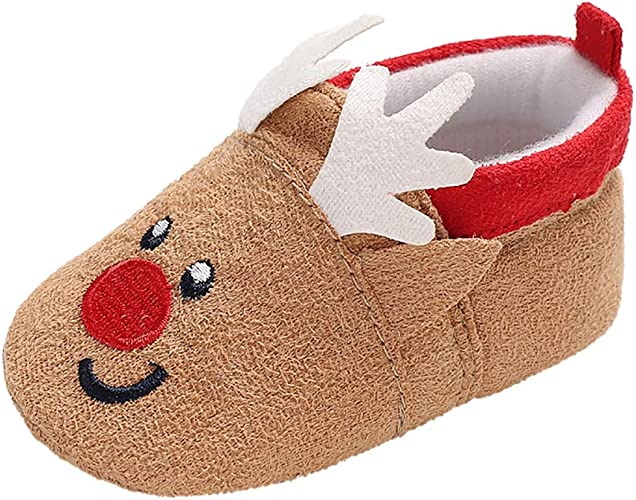 Baby Infant Girls Boys REINDEER Christmas Cute Slippers Shoes 6 12 18 Months NEW