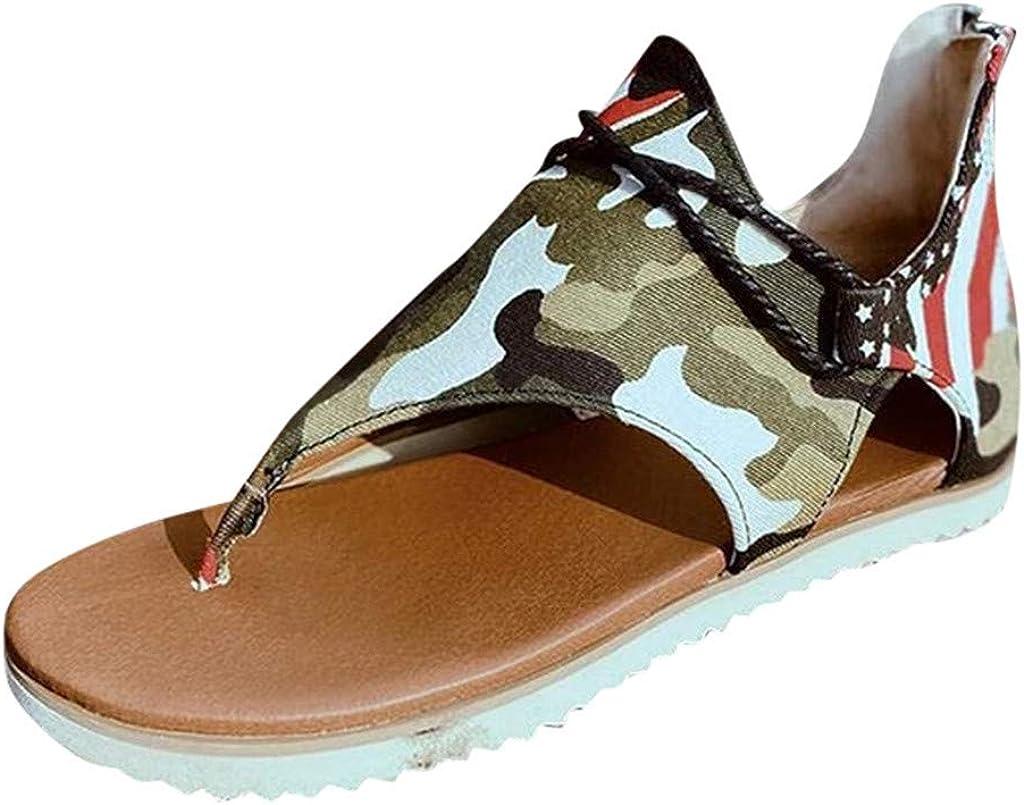 Sandal for Womens Posh Gladiator Sandals Summer Casual Sandals Premium Elegant Flat Heel Back Zipper Flats Shoes