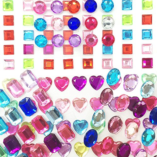 - ZEAVOLA Self-Adhesive Multicolor Flatback Rhinestone Sticker Bling Craft Jewels Crystal Gem Stickers,Assorted Size (250 Assorted Pieces)