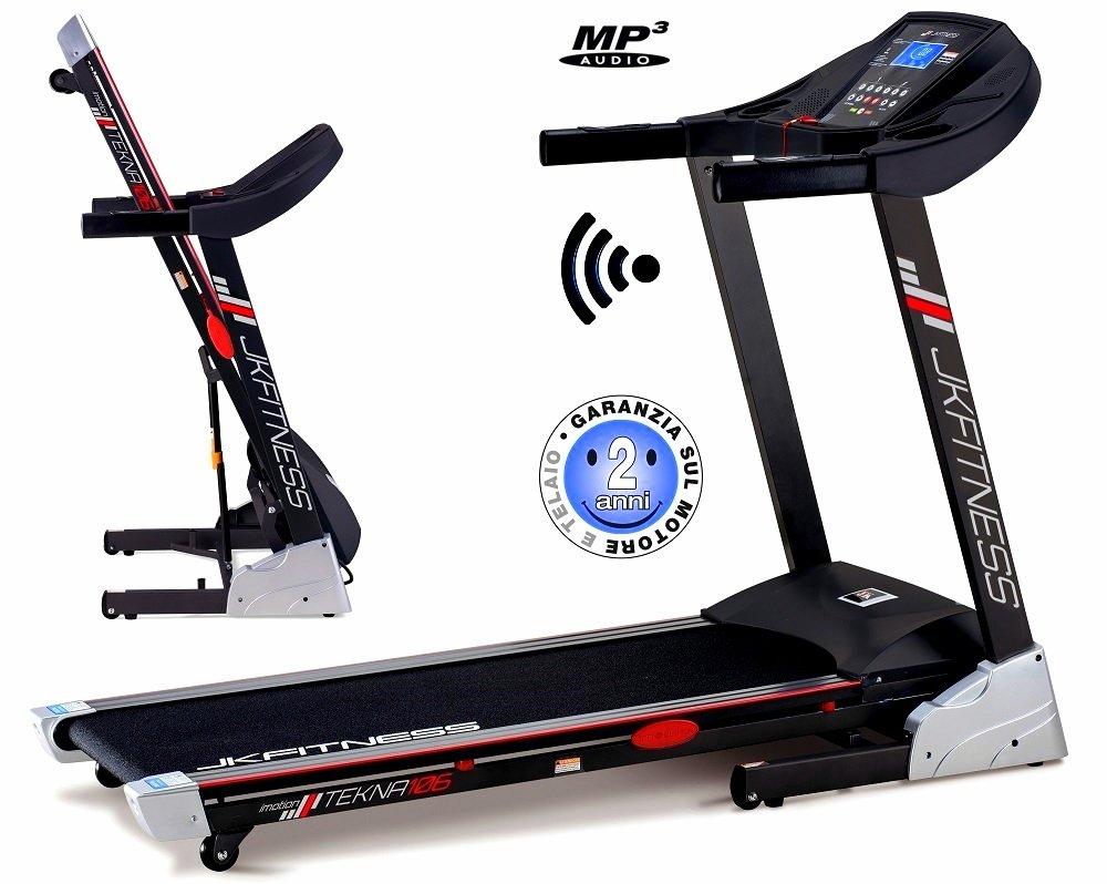 Laufband Elektro JK Fitness Tekna JK106 HRC Wireless – MP3 – klappbar zusammenklappbar – Teppich cm. 130 x 42 – Neigungswinkel Elektrische – HP 2 3 HP – KM H 0,8 16 – New 2018