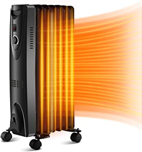 Antarctic Star Oil Filled Radiator Heater,1500W Portable Space Heater with Adjustable Thermostat,Safe Portable Heater for Indoor Use, Black