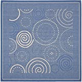 "Cheap Safavieh Courtyard Collection CY1906-3103 Blue and Natural Indoor/Outdoor Square Area Rug (7'10"" Square)"