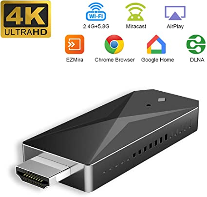 Windows Mac Pantalla inal/ámbrica Dongle 5G //2.4G Soporte Airplay DLNA Miracast para Android iOS YEHUA 4K HDMI Receptor de Pantalla inal/ámbrico