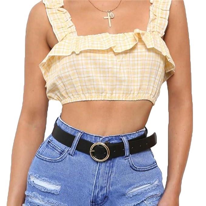 Mujer Sin Mangas Camisetas, Moda Plaid Slim Fit Camiseta Corte Sexy Fuera del Hombro Blusa Casual Primavera y Verano Blusa Crop Tops Amarillo/Blanco: ...