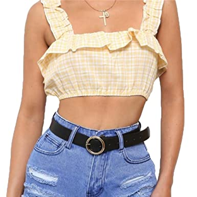 2b6dcaaf1 Juleya Women Off Shoulder Crop Tops - Sexy Boat Neck Frill Cropped Belly Top  Check Strap