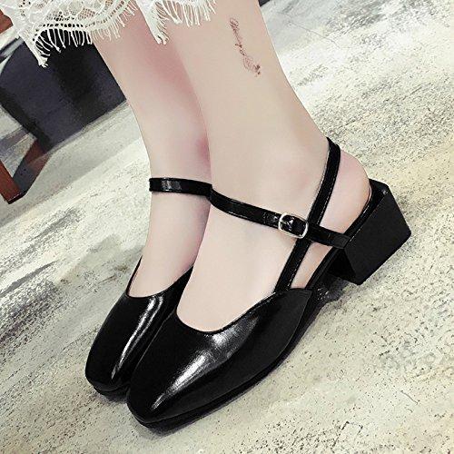 RUGAI-UE Sandalias de verano áspero Squshoes Retro zapatos de mujer Black