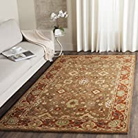 Safavieh Heritage Collection HG952A Handcrafted Traditional Oriental Moss and Rust Wool Area Rug (5 x 8)