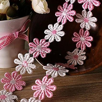 Yalulu 5 Yards Classic Mini Pink Daisy Sun Flower Lace Trim DIY Ribbon Art Crafts Tape Decoration