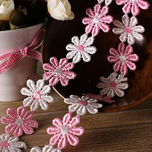 Yalulu 5 Yards Classic Mini Pink Daisy Sun Flower Lace Trim DIY Ribbon Art Crafts Tape - Daisy Trim