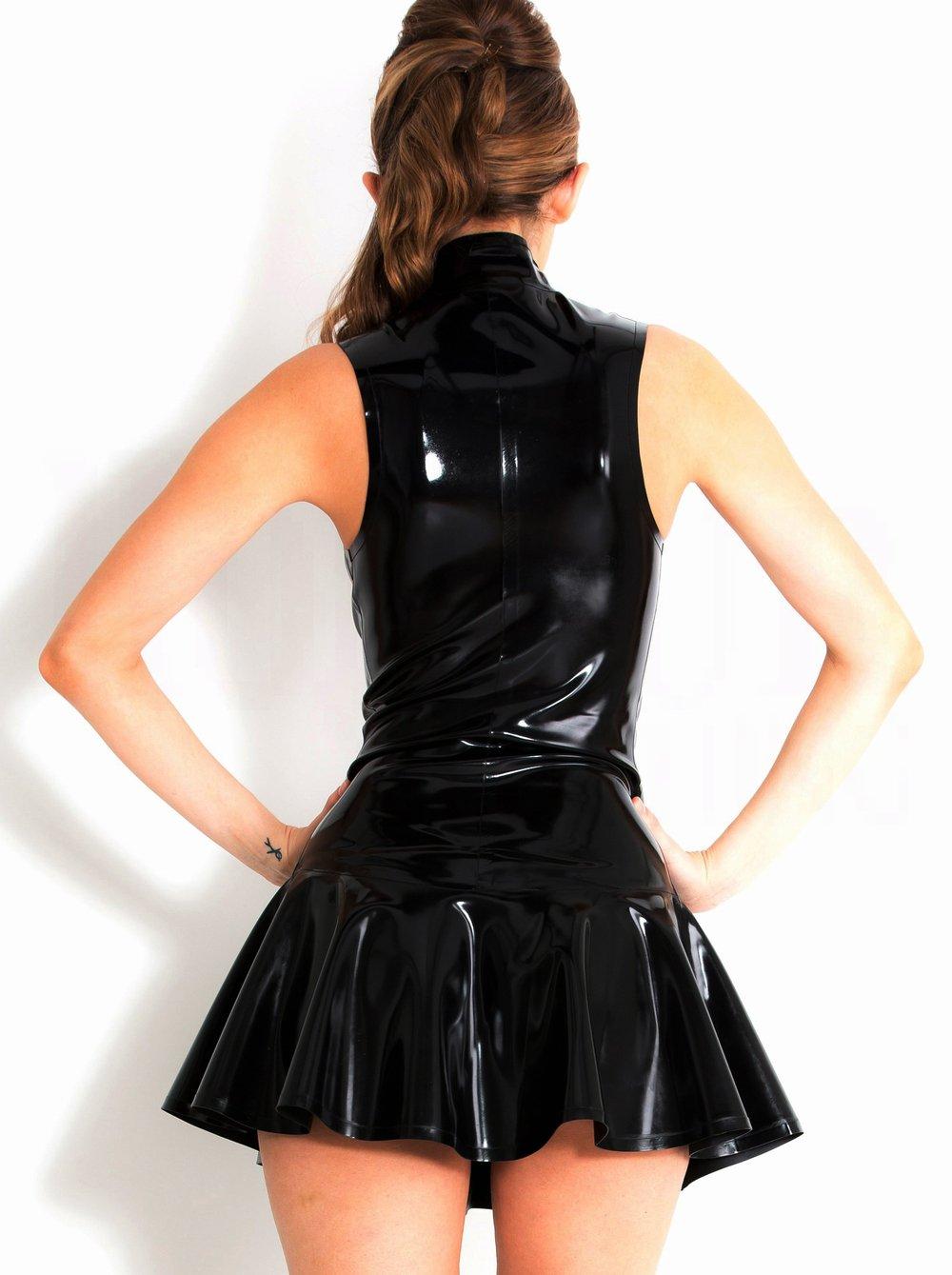 fcde71a4f0e FASHION QUEEN Women s PVC Zip Front Mini Dress Black Clubwear   Shops    Clothing