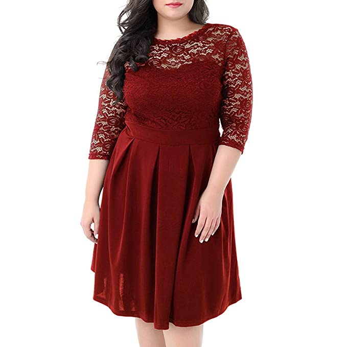 a6e6678f424 KILOLONE Plus Size Lace Dress Women 3 4 Sleeve A Line Vintage Dress for  Party Cocktail Evening Prom  Amazon.co.uk  Clothing