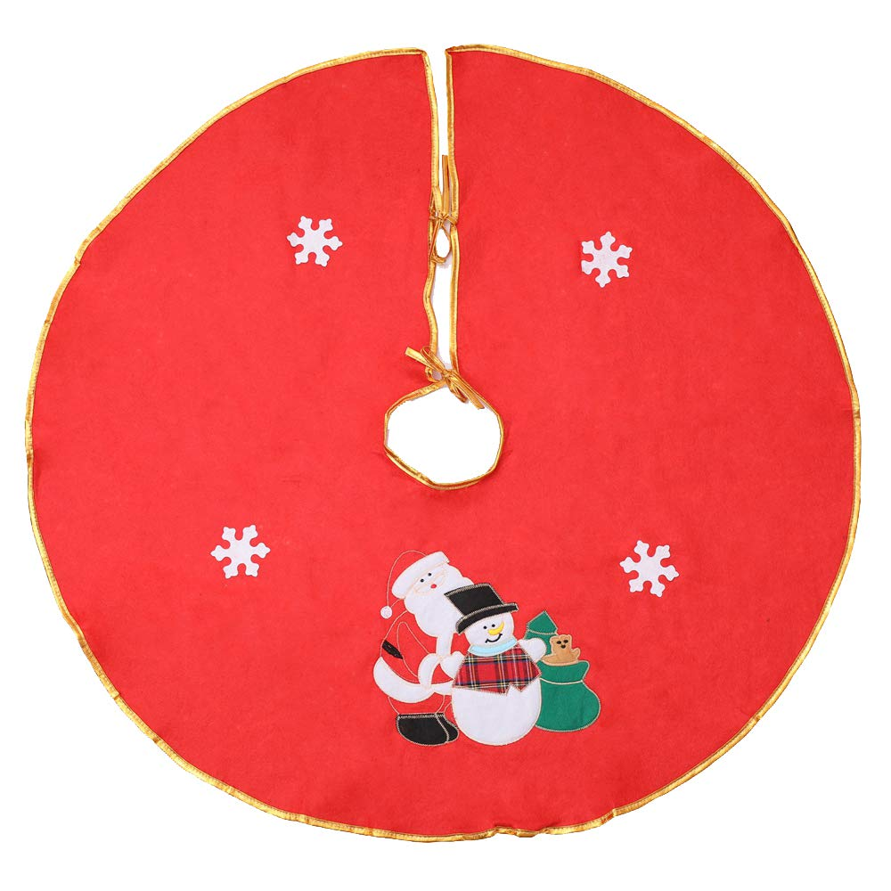 Honeystore 35inches Christmas Tree Skirt Round Indoor Outdoor Mat Xmas Party Holiday Decorations Home Decor Xmas Holiday Tree Ornaments Decoration Color02