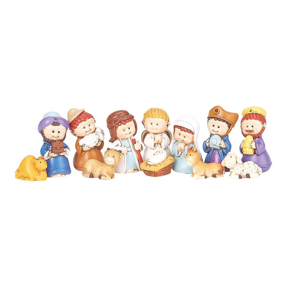 Dicksons Miniature Whimsical Nativity Scene 9 x 1.5 Resin Stone Christmas Figurine, Set of 12