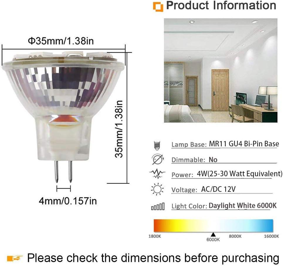 MR11 GU4 LED Bulbs 4W AC//DC 12V 25W-30W Halogen Bulbs Equivalent G4//GU4 Bi-pin Base MR11 Spotlight Daylight White 6000K for Landscape Accent Recessed Track Lighting 6 Pack