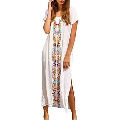 339ba074ca15 Brezeh Beach Cover Up Women Summer Beach Maxi Dress Boho Short Sleeve Kaftan  Swimwear Beachwear Embroidered