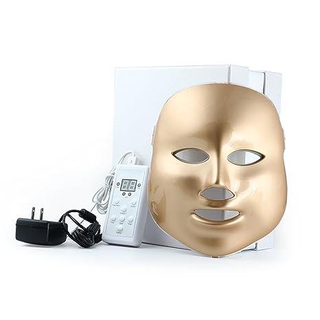 Weijin 3 Color llevó máscara de Oro Terapia de luz LED Tratamiento Facial Belleza Piel Cuidado Foto Terapia máscara para Acné Arrugas blanqueamiento: ...