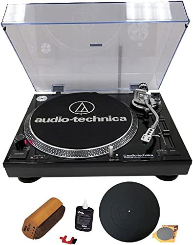 Audio-Technica ATLP120USB Professional Stereo Turntable w USB LP to DIG Recording Piano Black with RCA Turntable Cleaning System Silicone Rubber Universal Turntable Platter Mat