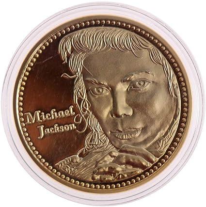 Liquidación El Rey del Pop Moneda Conmemorativa de Michael Jackson Coleccionable Moneda con Recuerdo de Oro MJ: Amazon.es: Belleza