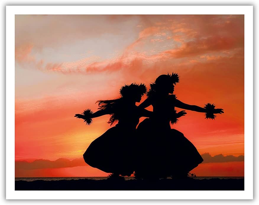 Pacifica Island Art Hula Sisters - Young Hawaiian Dancers at Sunset - From an Original Color Photograph by Randy Jay Braun - Hawaiian Fine Art Print - 11in x 14in