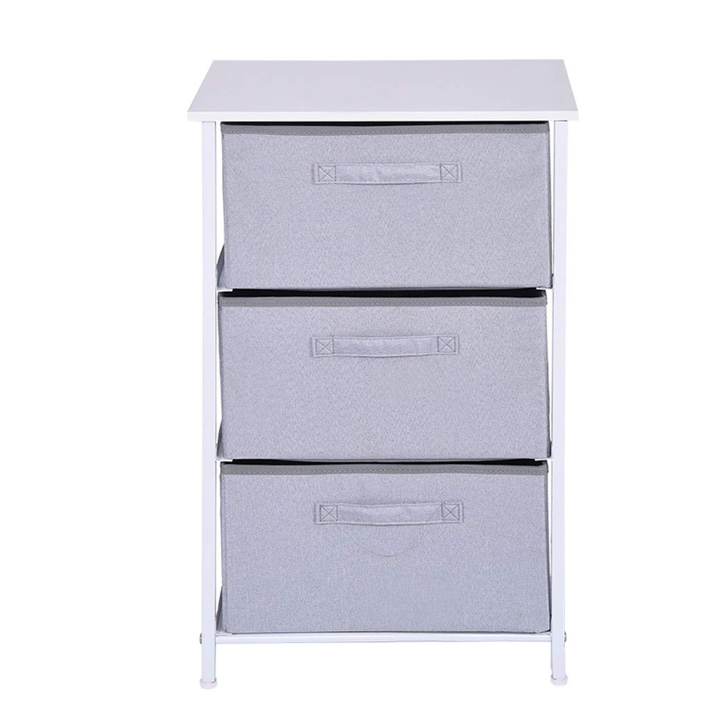 QIANSKY 3-Drawer Nightstand Storage - Bedside Desk - Vertical Dresser Storage Tower Sturdy Steel Frame Wood Top Storage Cabinet End Table - Bedside Cabinet Table for Living Room, Bedroom by QIANSKY
