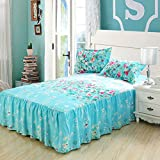 Generic Cotton/Polyester Reactive printing Princess Bed skirt(set of 3),size Queen,Blue Color
