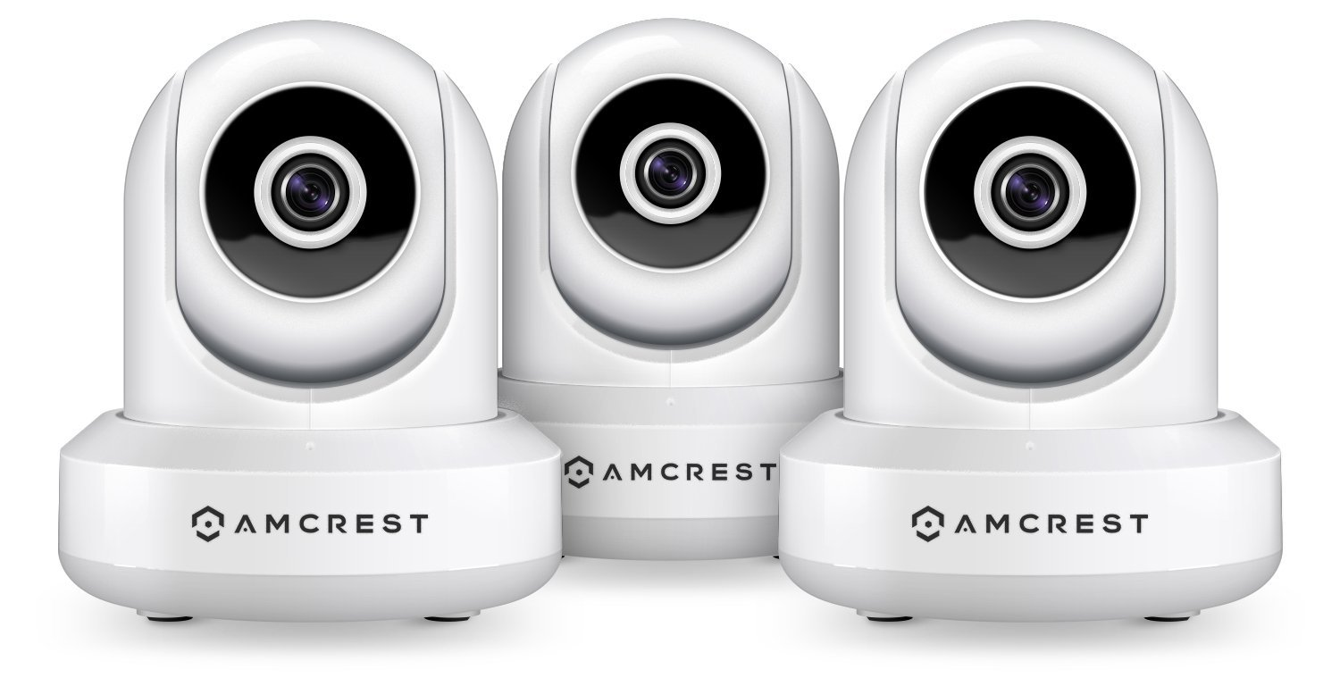 3-Pack Amcrest ProHD 1080P WiFi/Wireless IP SecurityCameraIP2M841 (White) Pan/Tilt, 2-Way Audio, Optional Cloud Recording, Full HD 1080P 2MP, Super Wide 90° Viewing Angle, Night Vision (White)