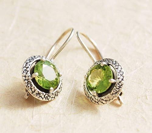 Natural Peridot Earrings-Handmade Silver Earrings-925 Sterling Silver Earrings-Round Peridot Earrings-Gift for her-Dangle Drop Earrings