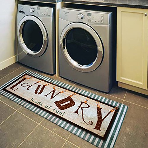 "USTIDE Vintage Style Laundry Room Waterproof Floor Runners Non Skid Kitchen Floor Mat Farmhouse Washhouse Mat Bathroom Rugs Non-Slip Rubber Area Rug (20""x48"", 1)"