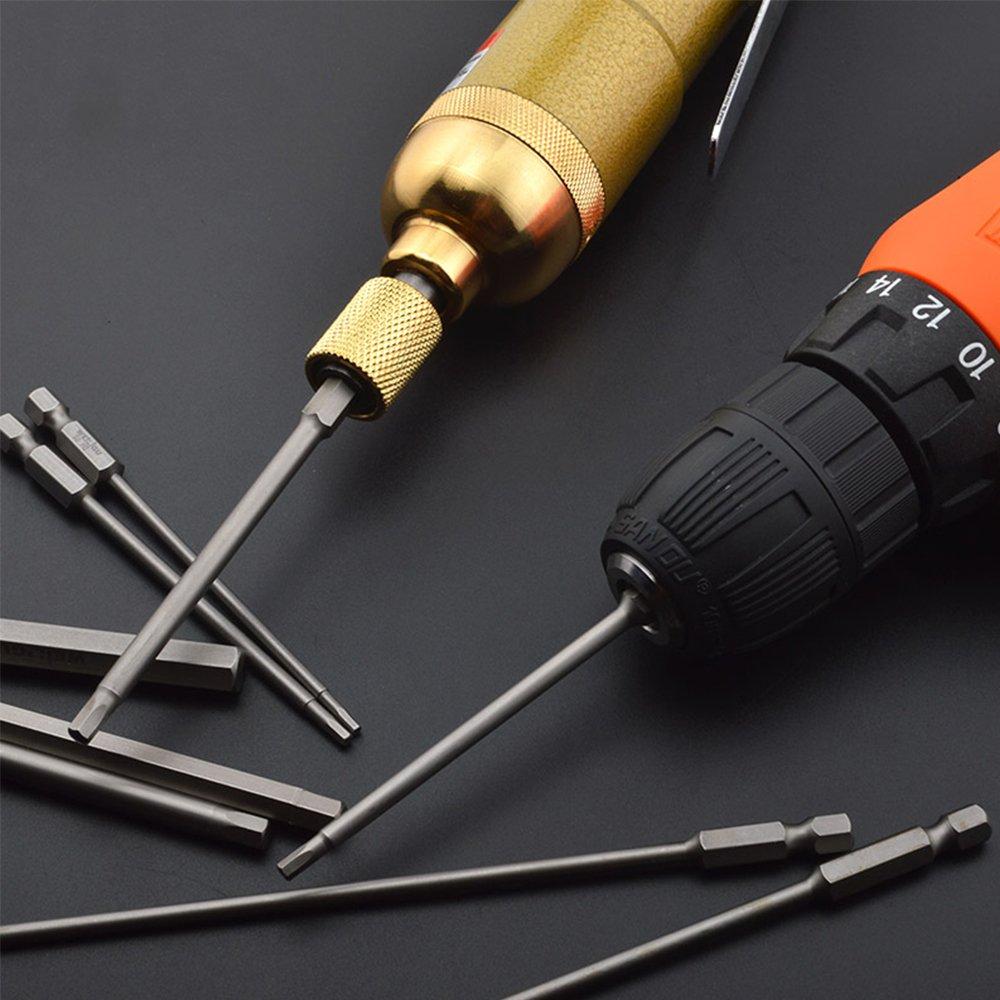 JTENG 6pcs 100mm S2 Steel Magnetic Hexagon Screwdriver 1/4 Hex ...