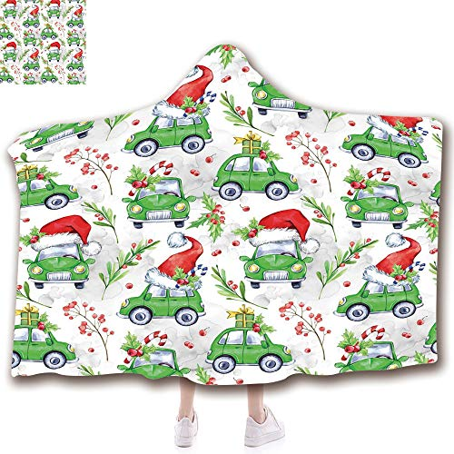 - Fashion Blanket Ancient China Decorations Blanket Wearable Hooded Blanket,Unisex Swaddle Blankets for Babies Newborn by,Christmas Composition with Green Cars Santa Hats,Adult Style Children Style