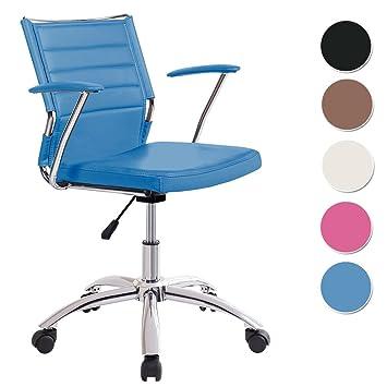 Silla de escritorio para despacho modelo LIFE base ruedas color azul - Sedutahome